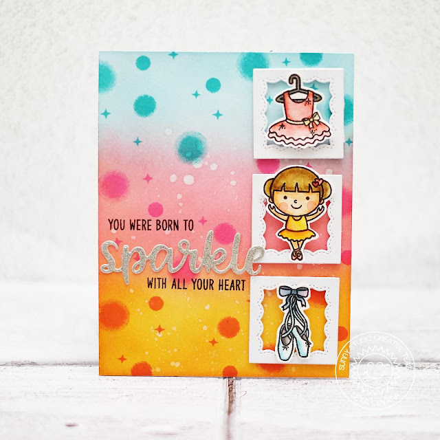 Sunny Studio Stamps: Born To Sparkle Tiny Dancer Watercolored Background Card by Lexa Levana