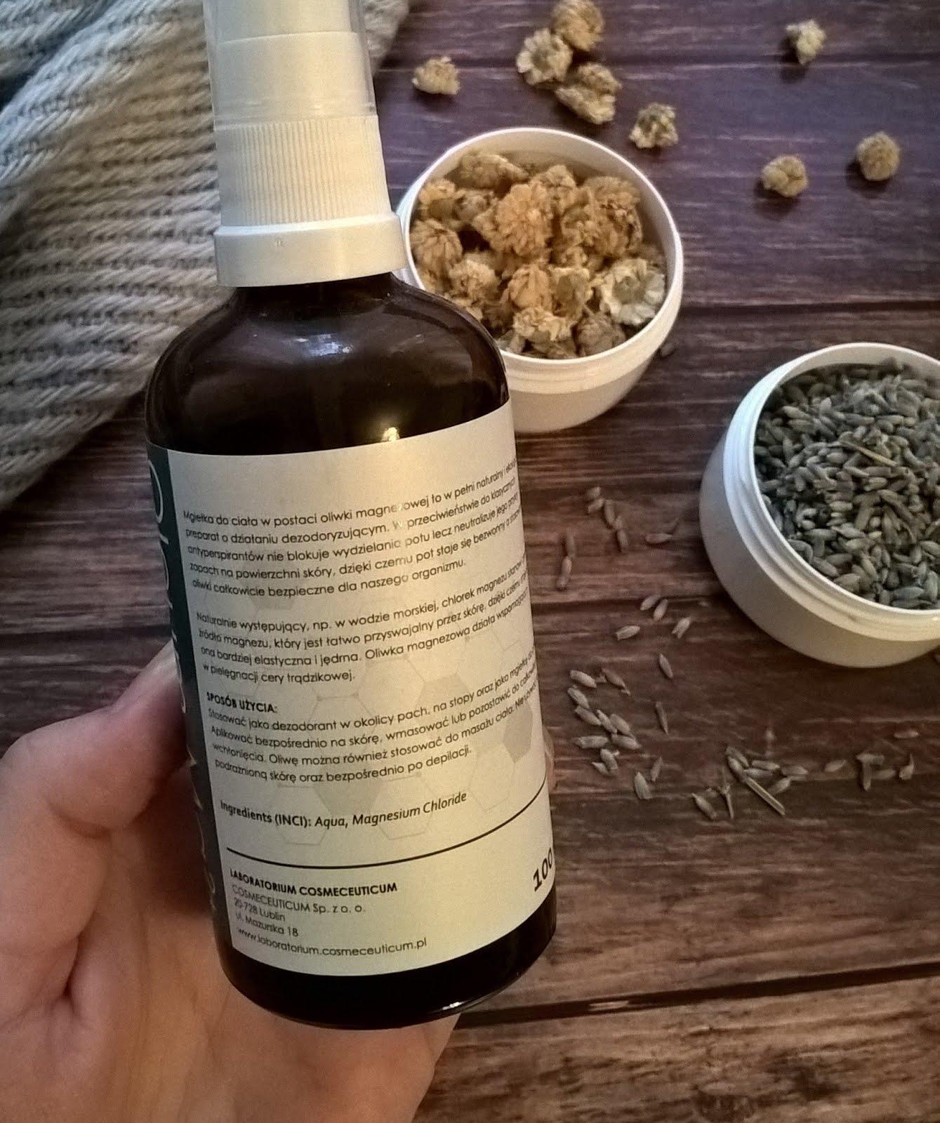 Laboratorium Cosmeceuticum, Oliwa Magnezowa 40% recenzja blog skład