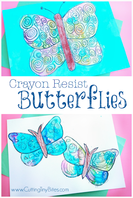 Crayon Resist Butterfly Art. Lovely watercolor technique, perfect craft for preschool insect theme unit.