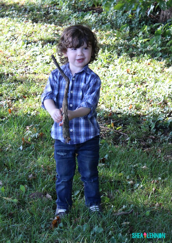 Fall outfit for toddler boy - plaid shirt with jeans and canvas shoes | www.shealennon.com