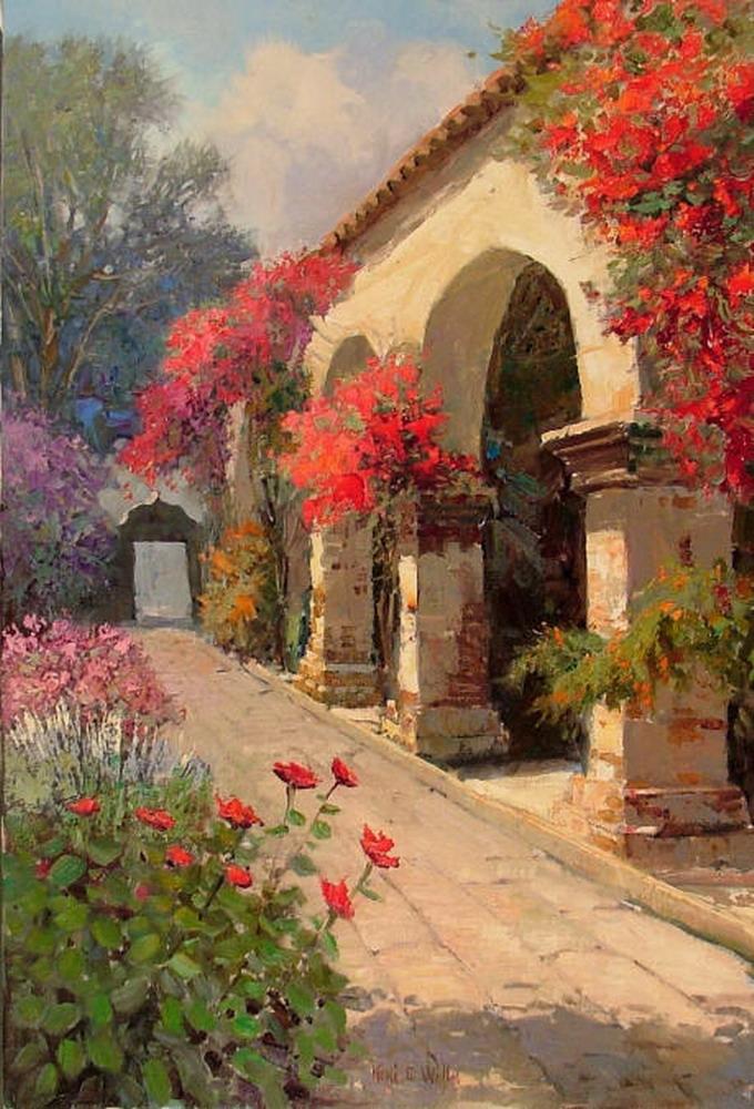 Cuadros con flores y casas de campo antiguas de estados - Paisajes de casas de campo ...