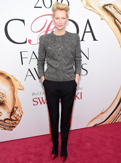 Tilda Swinton in a Haider Ackermann grey top and black trousers at the 2016 CFDA Fashion Awards
