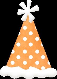 Objetos en Anaranjado del Clipart de Animalitos Celebrando un Cumpleaños.