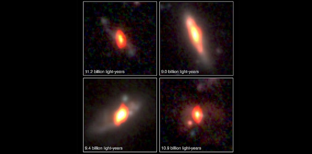 Radio/Optical combination images of distant galaxies as seen with NSF's Very Large Array and NASA's Hubble Space Telescope. Their distances from Earth are indicated in the top set of images. Below, the same images, without labels.  Credit: K. Trisupatsilp, NRAO/AUI/NSF, NASA.