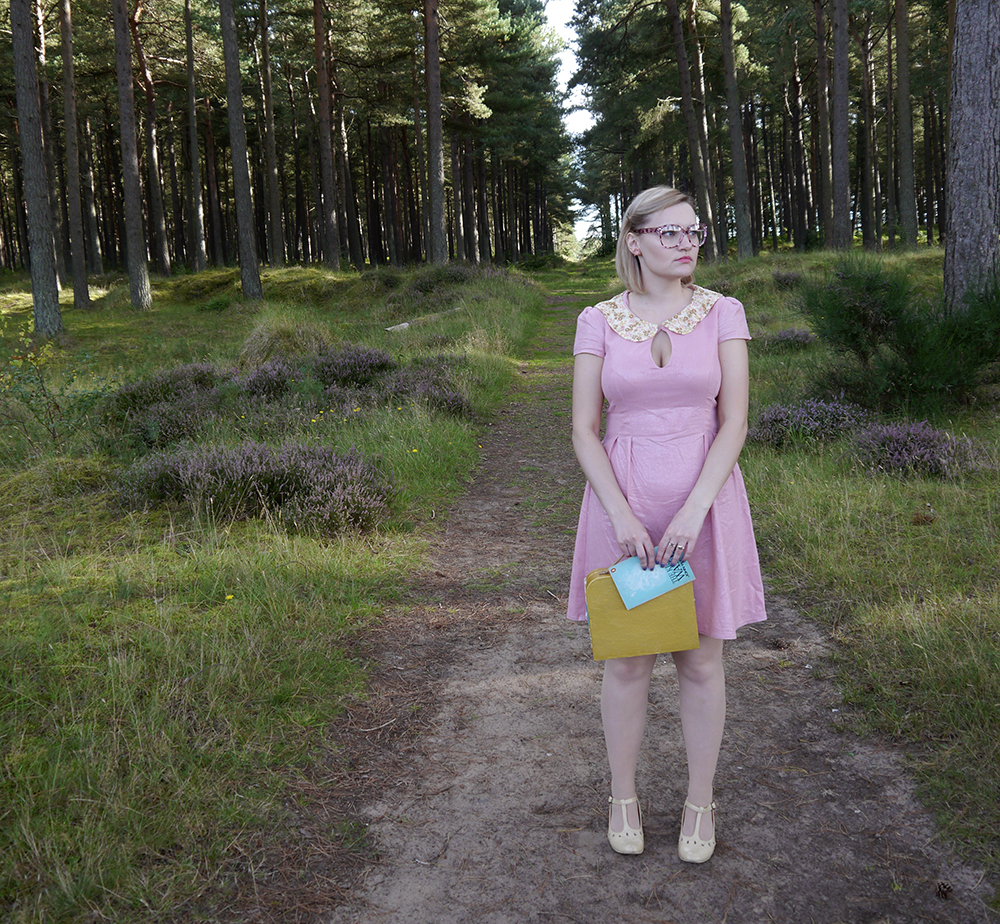 Moonrise Kingdom costume, fun fashion bloggers, Rowanjoy dress, colourful fashion, quirky fashion, wearable Halloween outfit, Suzy Bishop dress, Suzy Bishop costume, Suzy Bihsop outfiteasy Halloween, Suzy Bishop, Wes Anderson style inspiration, Tentsmuir National Nature Reserve, Tayport photoshoot,