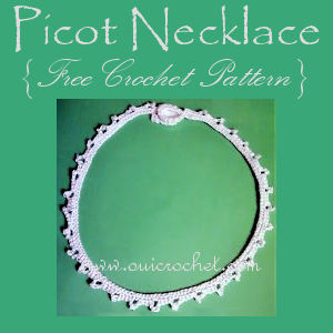Crochet, Free Crochet Pattern, Crochet Jewelry, Crochet Necklace, Crochet Picot Necklace, Picot Necklace,