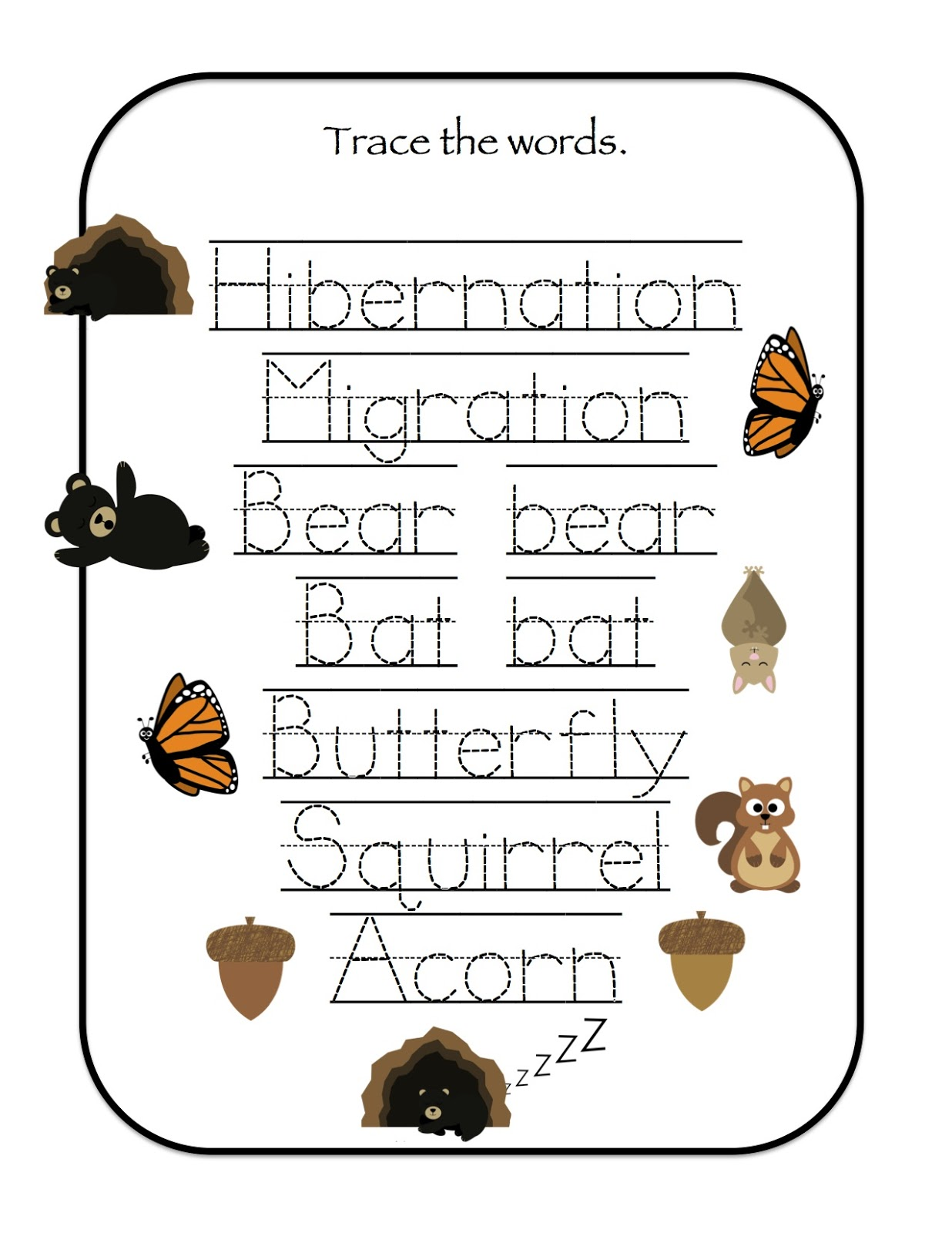 Coloring Pages Of Animals That Migrate : Hibernation amp migration printable preschool printables