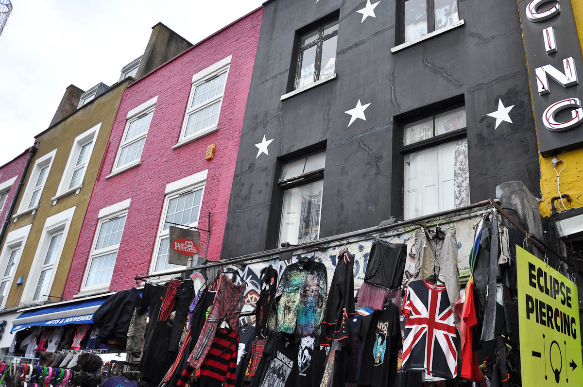 Colourful buildings and shop displays, Camden Town, London, England