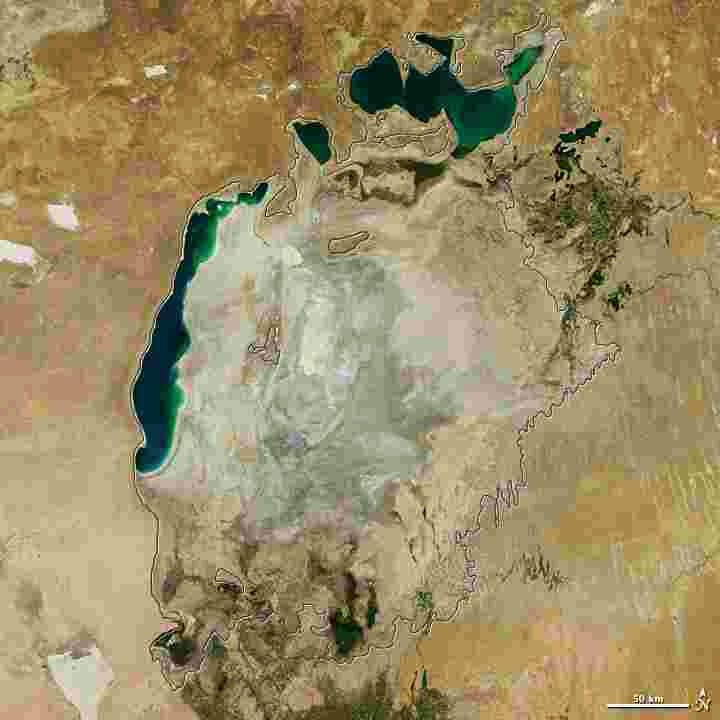 The Aral Sea Loses Its Eastern Lobe, photo taken by NASA as an illustration of one of the changes in nature that Bible Prophecy predicts will occur in the end times