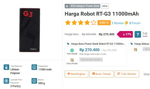 Power bank terbaik dan terkuat - ROBOT RTG3 11000 mAh