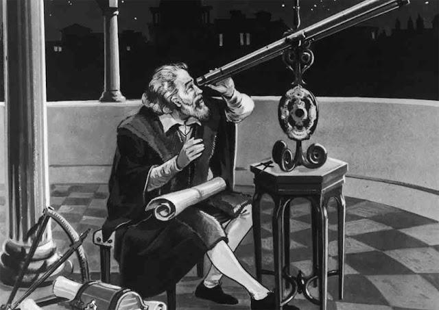 Galileu Galilei observando Júpiter pela primeira vez