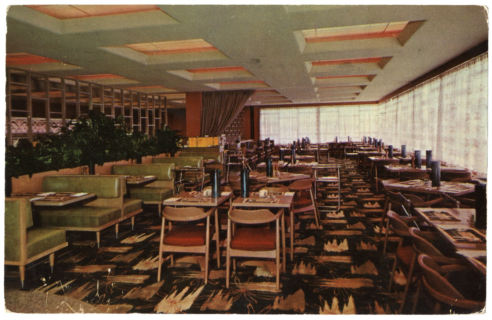 Post Card Gl House Dining Room Elkhart Indiana Toll Road 1962