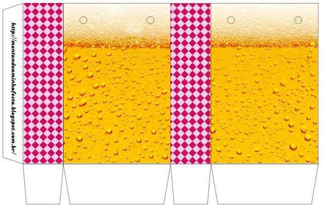 Cajas para Imprimir Gratis de Fiesta de la Cerveza para Chicas.