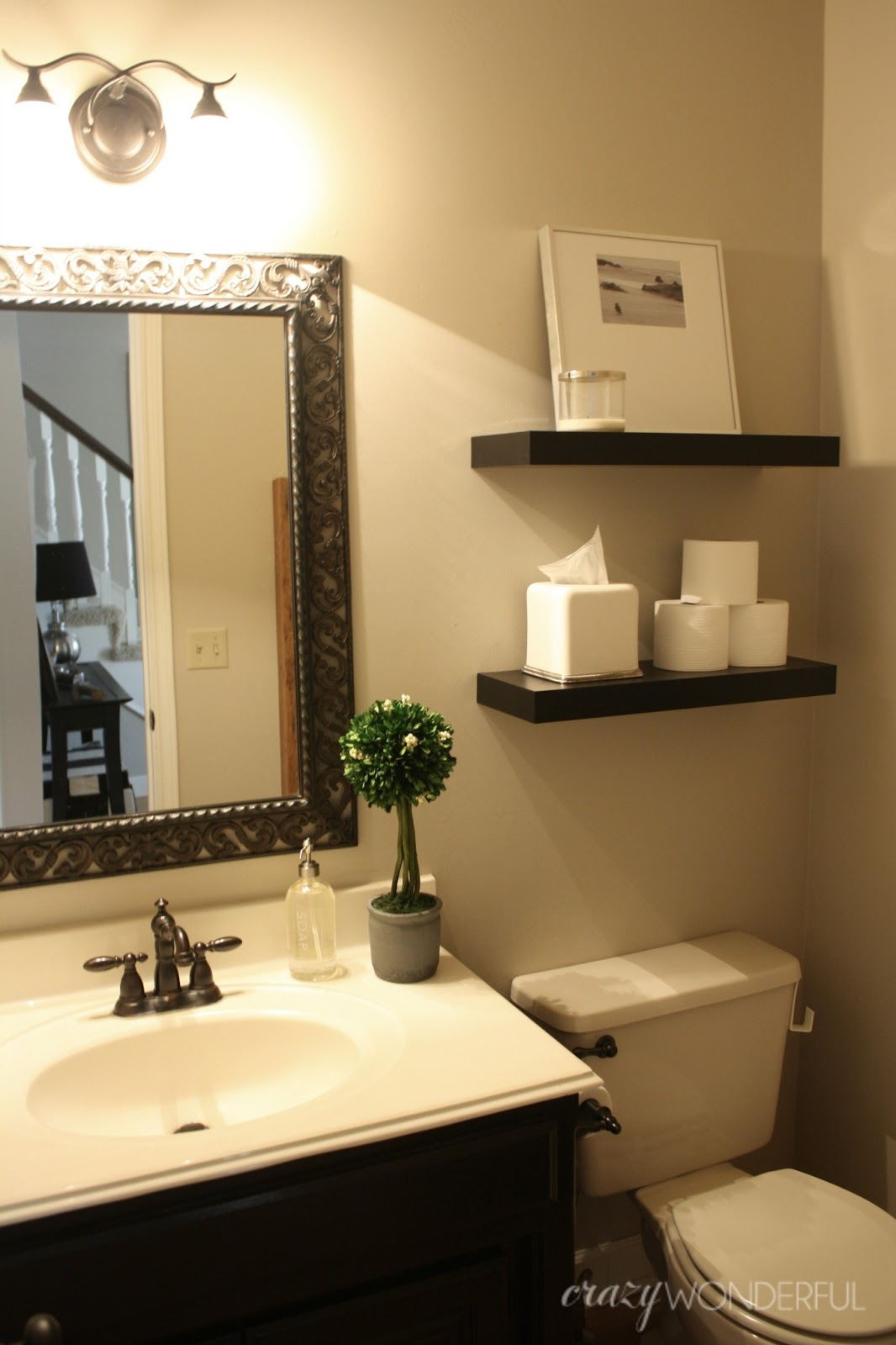 quick powder room makeover - Crazy Wonderful on Small Apartment Bathroom Ideas  id=63742