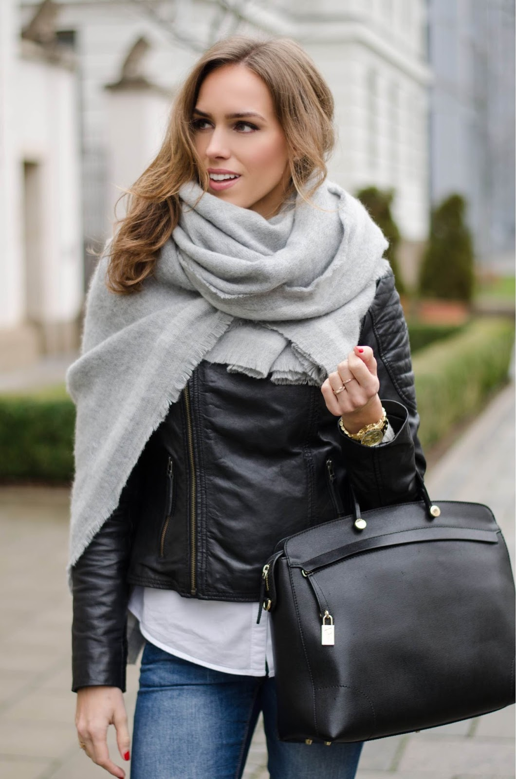 kristjaana mere big gray wool scarf over leather jacket