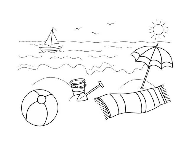 Gambar Mewarnai Pemandangan Pantai Zona Ilmu 2