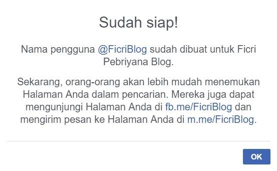 Nama Pengguna Fanpage Facebook