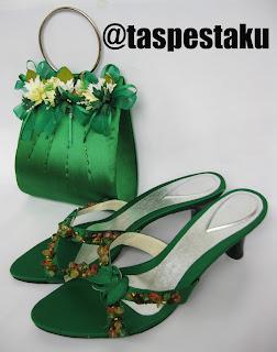 Handmade Tas Pesta dan Sepatu Pesta Hijau Botol Cantik Mewah