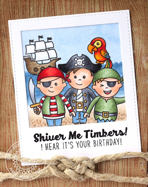 Sunny Studio Stamps: Pirate Pals Polaroid Pirate Scene Birthday Card by Karin Åkesdotter
