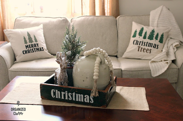 DIY Neutral Christmas Pillow Covers and Signs with Old Sign Stencils #stenciling #oldsignstencils #Christmastrees #canvaspillow  #crates #neutralChristmasdecor #Christmas #Holidaydecorations