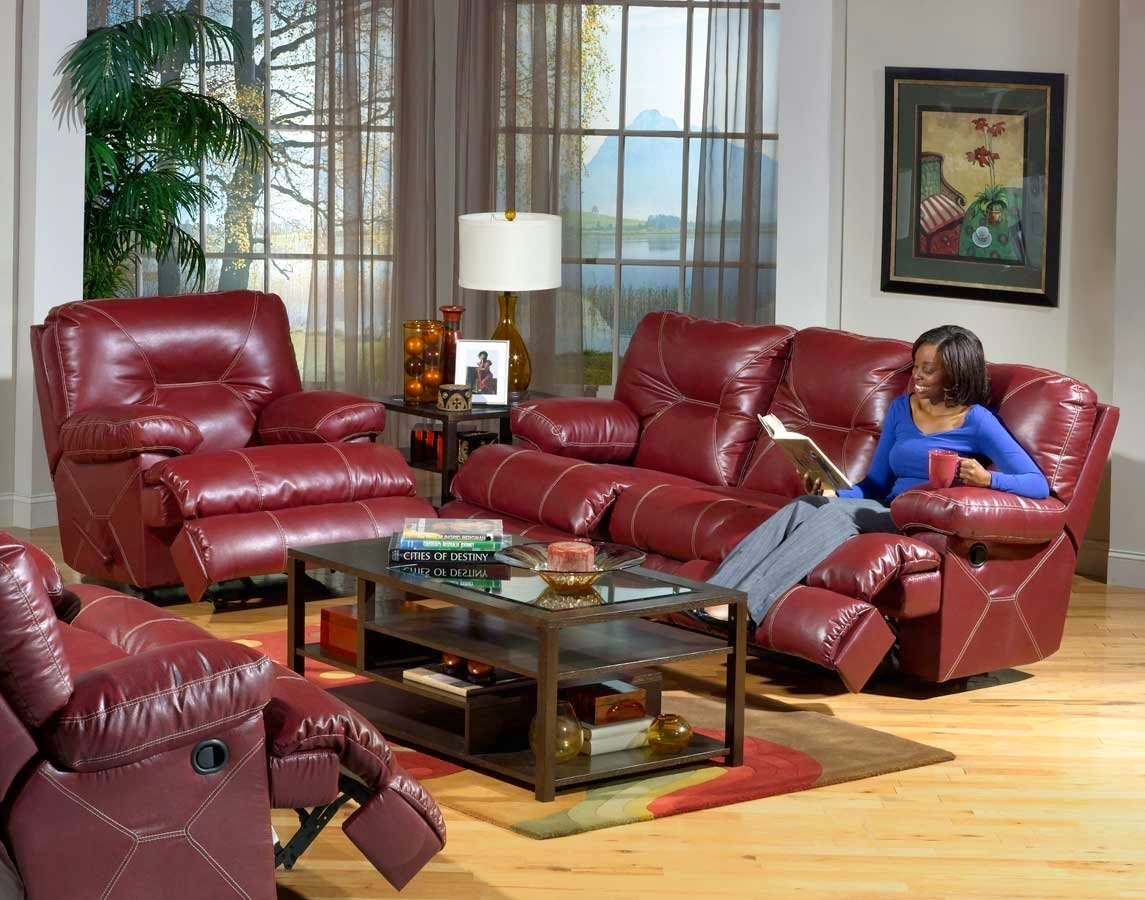 CatNapper Red Leather Power Reclining Sofa Set : best power recliner sofa - islam-shia.org