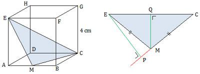 Jarak titik E ke garis CM pada kubus ABCD.EFGH