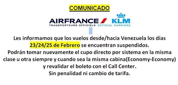 Air France suspende vuelos entre el 23-F y el 25-F