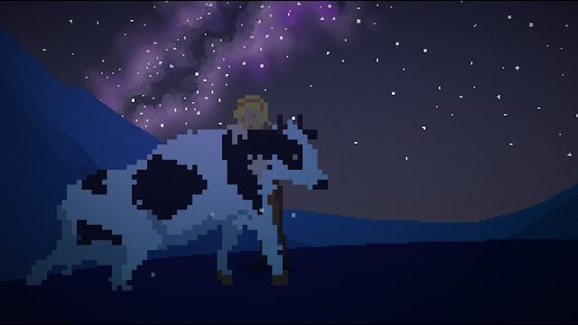 Ruth se abraza a su vaca pinta Lykke. Al fondo, una noche estrellada en la que se aprecia el espinazo de la noche: la Vía láctea.