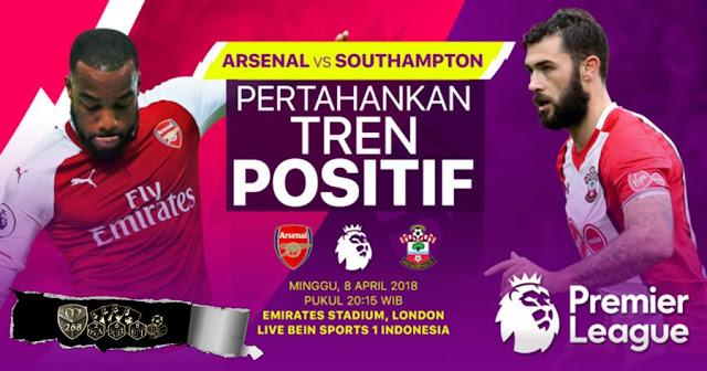 Prediksi Arsenal Vs Southampton, Minggu 08 April 2018 Pukul 20.15 WIB