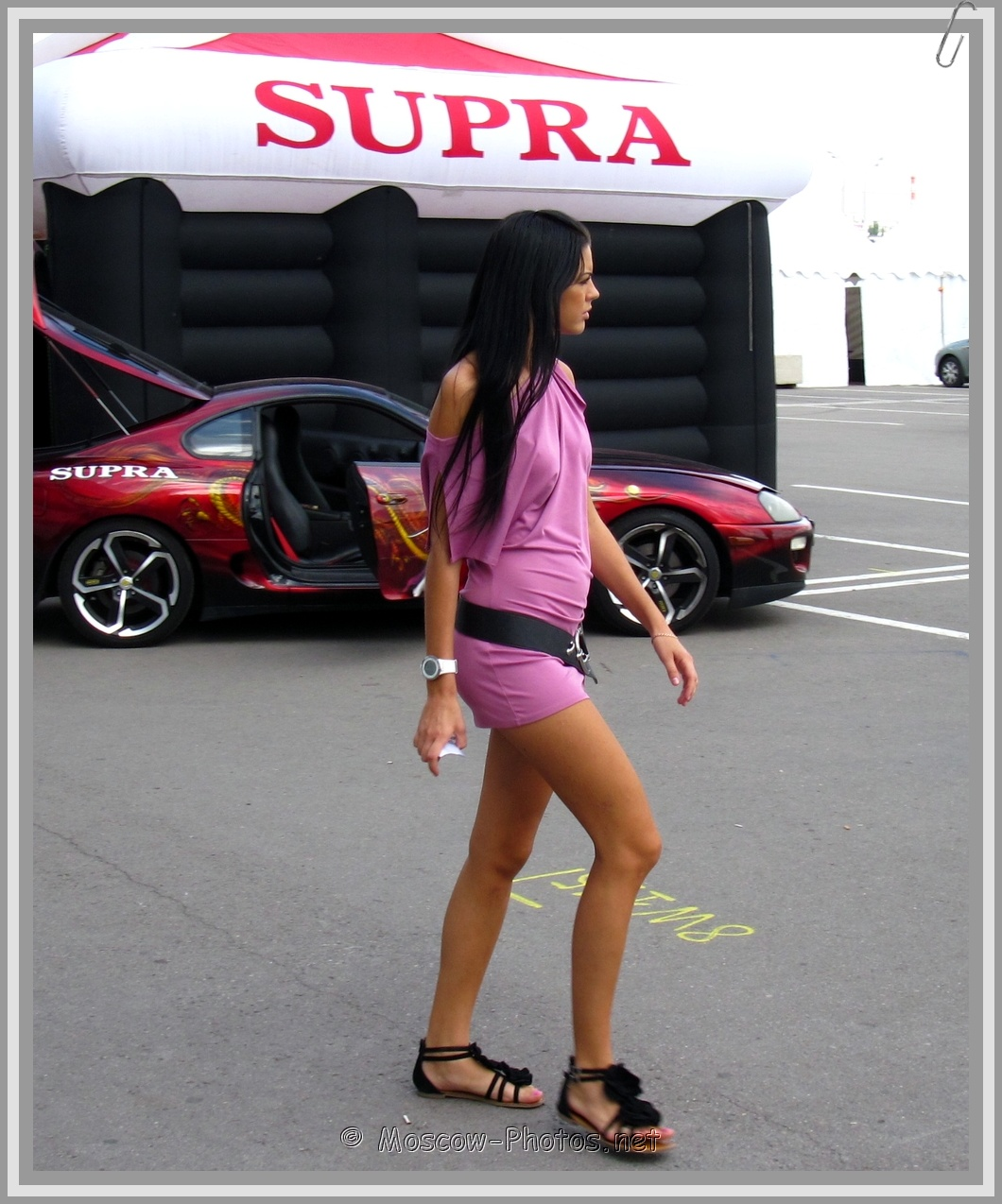 Slim Russian Girl In Pink Summer Mini Dress