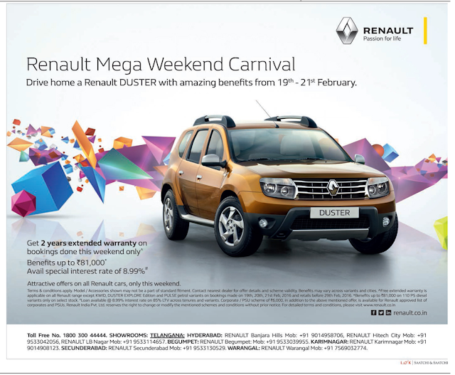Renault Mega weekend carnival. Drive home a Renault Duster with amazing benefits | Discount offer