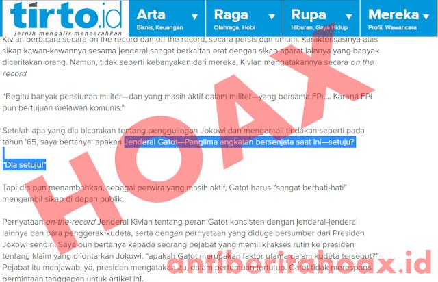 Hoax Panglima TNI Jendral Gatot Nurmantyo Setuju Makar kepada Jokowi