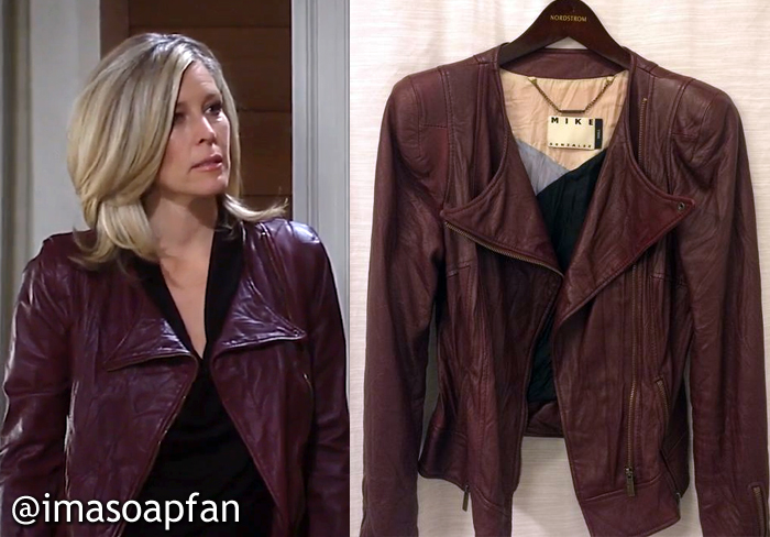 Carly Corinthos, Laura Wright, Burgundy Leather Jacket, Mike Gonzalez, GH, General Hospital