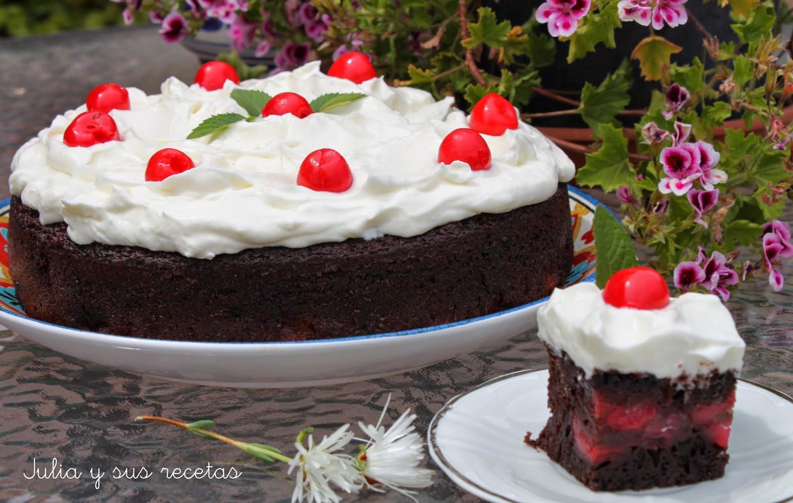 Pastel de chocolate coca-cola y cerezas. Julia y sus recetas