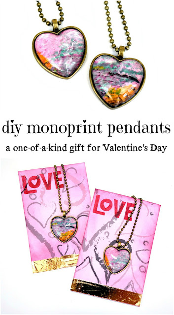 DIY Heart-Shaped Izink Monoprint Pendants with Gold Foiled Heart Card Tutorial by Dana Tatar