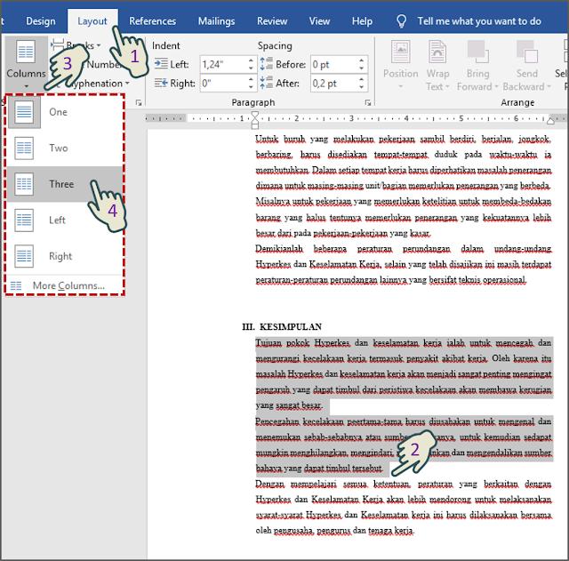 Memformat Bagian Dokumen Dalam Multiple Kolom