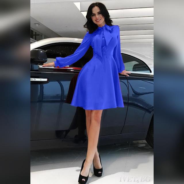 Μακρυμάνικο  μίντι μπλε φόρεμα SIONA BLUE