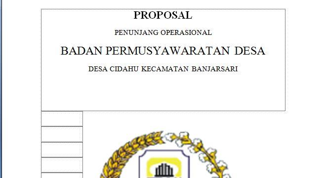Proposal Pengajuan Dana Operasional Bpd Menuju Desa Mandiri