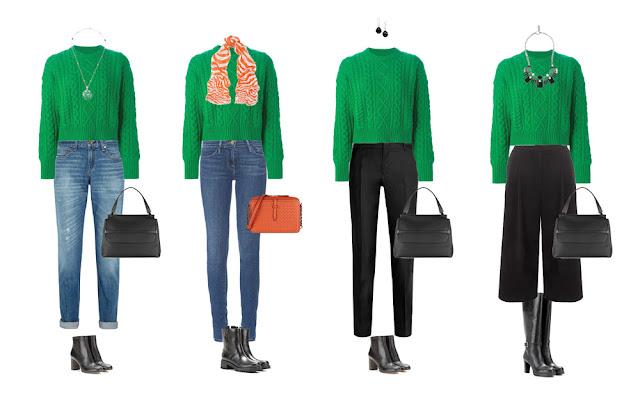 Комплекты капсульного гардероба с зеленым свитером и брюками