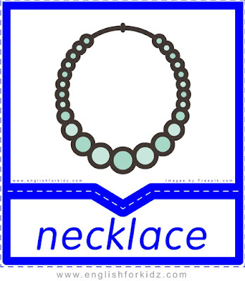 Necklace - English clothes and accessories flashcards for ESL students