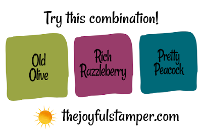 Try this Stampin' Up! color combination: Old Olive, Rich Razzleberry, Pretty Peacock