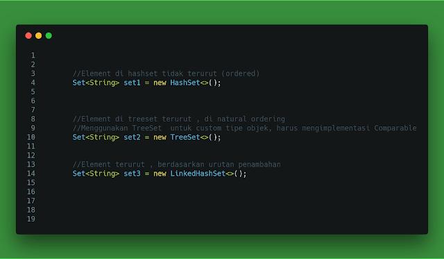 contoh code program aturan penggunaan menentukan set hashset treeset linkedhashset collection di dengan java
