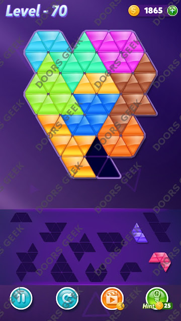Block! Triangle Puzzle 10 Mania Level 70 Solution, Cheats, Walkthrough for Android, iPhone, iPad and iPod