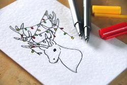 cards christmas drawn drawing hand card diy creative drawings handmade writing draw xmas designs holiday blackbird downloads merry reindeer homemade