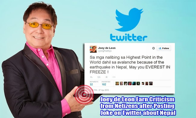 Joey de Leon Earn Criticism from Netizens after Posting Joke on Twitter about Nepal
