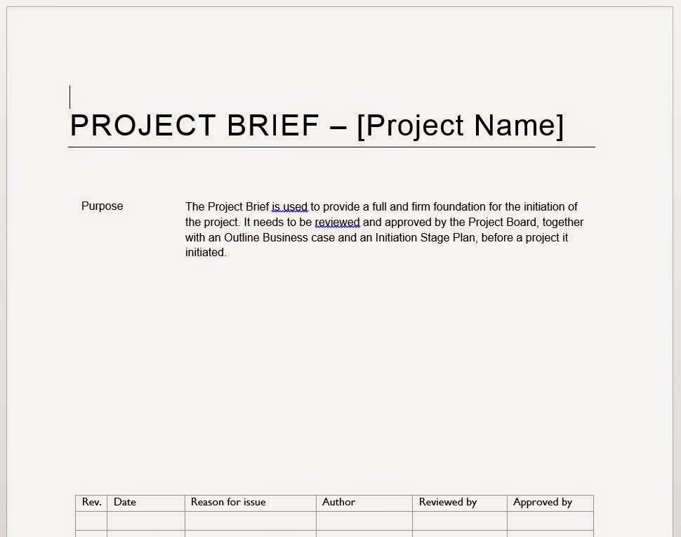 Template PRINCE2 Project Brief