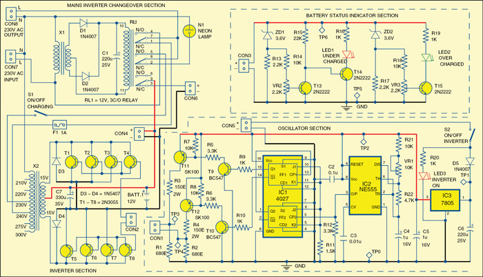 simple mini offline ups circuit diagram electronic. Black Bedroom Furniture Sets. Home Design Ideas