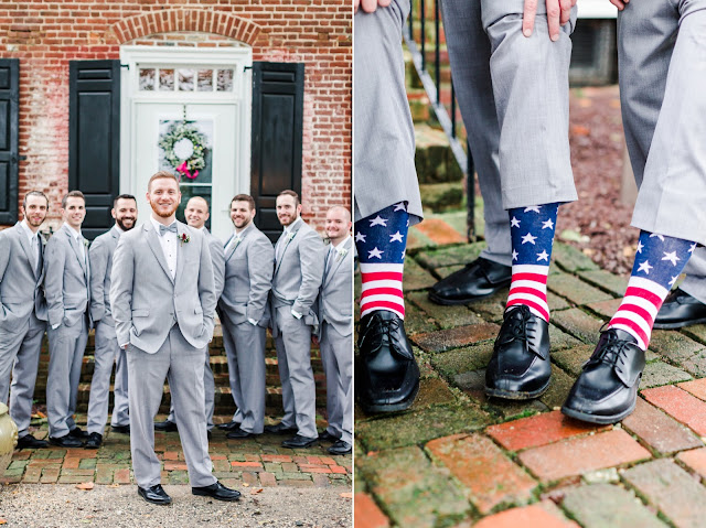 A Cranberry and Blue Autumn Wedding at Worsell Manor in Warwick, MD by Heather Ryan Photography - American Flag Socks