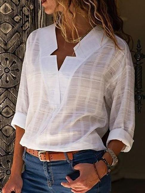 Sexy V Neck Pure Color Blouses -Regular price $125.99 USD-- $30.80 USD Sale