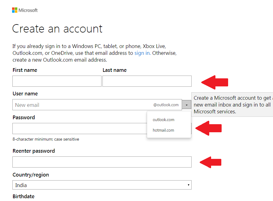 Hotmail sign up india